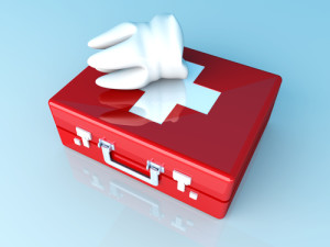 A tooth and a first aid case. 3D rendered illustration.